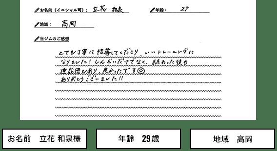 お名前 立花 和泉様 年齢 29 歳 地域 高岡