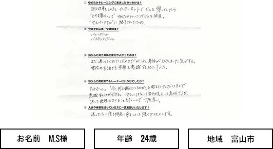 富山市 24歳 女性 MS様